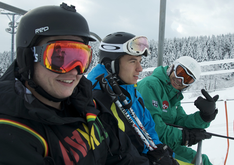 Brian on the chairlift with some of the crew