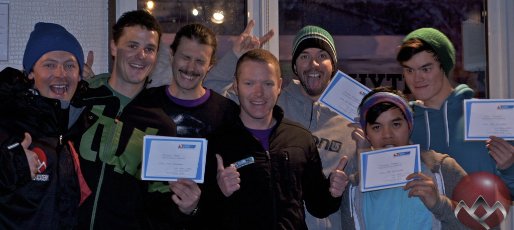 The snowboard trainees with Examiner Matt and Trainer Keith