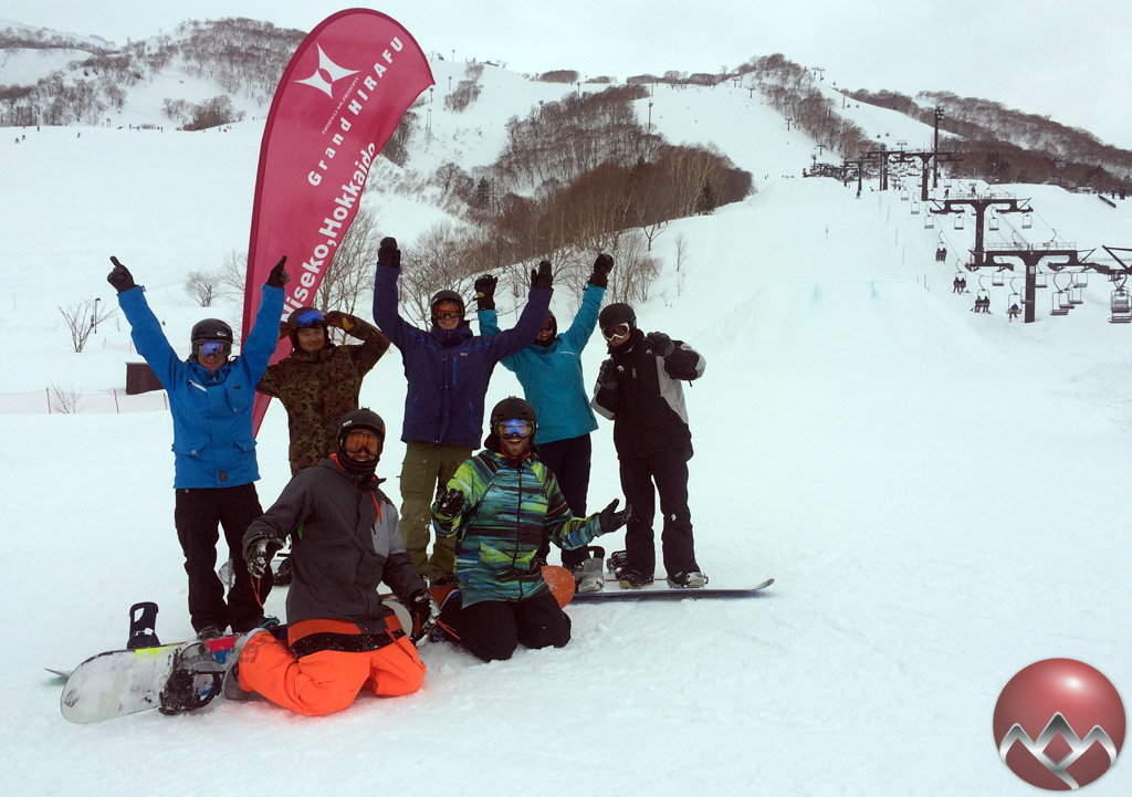 The Snowboard Level Two group at the bottom of the Grand Hirafu park