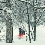 Aussie snowboard trainee, Luciano threading the needle in the trees